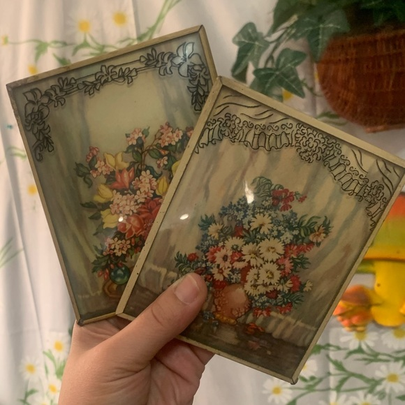 Vintage Other - Vintage convex painted glass flower greeting cards